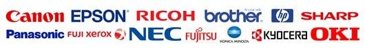 キャノン (CANON) エプソン (EPSON) リコー (RICOH) ブラザー (brother) ヒューレット・パッカード(HP) シャープ(SHARP) パナソニック(Panasonic) 富士ゼロックス(FUJI XEROX) 日本電気(NEC) 富士通(Fujitsu) コノカミノルタ(KONICAMINOLTA) 京セラミタ 沖電気(OKI)